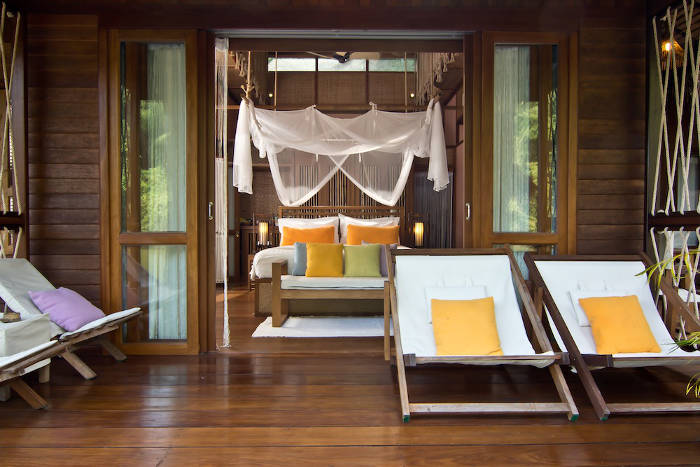 Sundeck and bedroom at Floathouse River Kwai